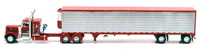 PETERBILT 379 w/SPREAD-AXLE UTILLITY REEFER(RED/BL